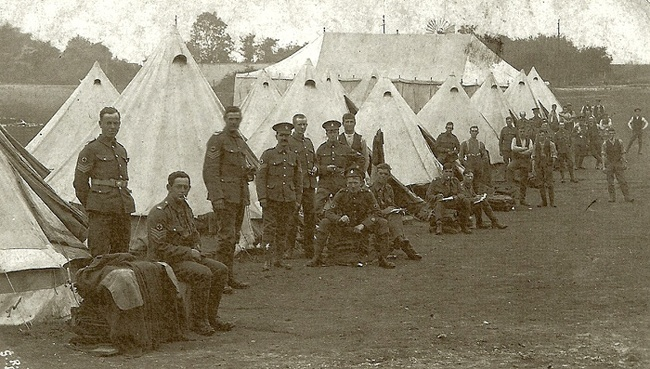 130th (St John) Field Ambulance in camp before leaving for France 1915