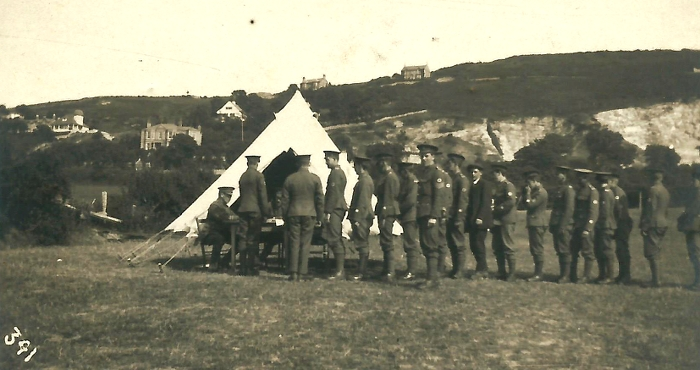 Men of the 130th (St John) Field Ambulance in Prestatyn 1915