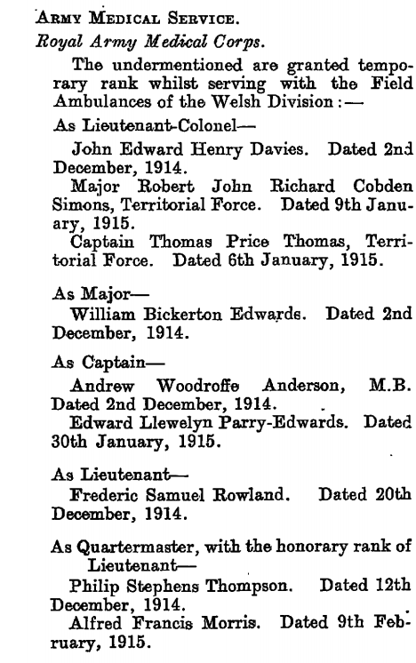 A section of page 3112 of the London Gazette 30 March 1915